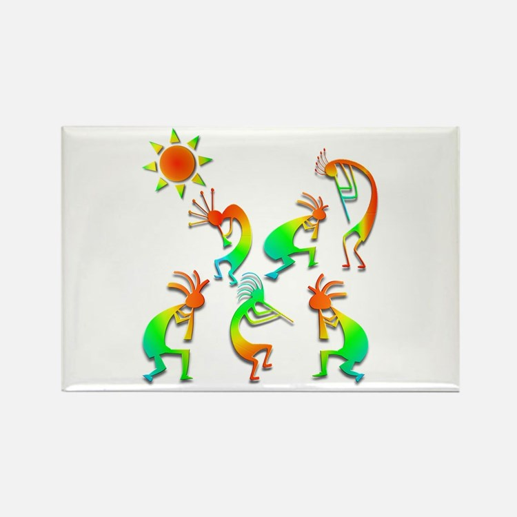 Kokopelli Sun Dance Rectangle Magnet (10 pack)