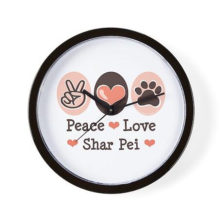 Peace Love Shar Pei Wall Clock