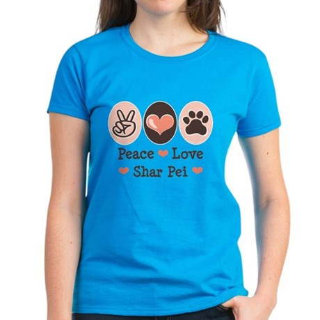 Peace Love Shar Pei Women's Dark T-Shirt