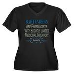 Bartenders Women's Plus Size V-Neck Dark T-Shirt