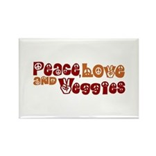 Peace, Love and Veggies Rectangle Magnet