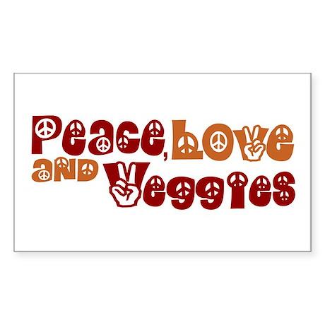 Peace, Love and Veggies Rectangle Sticker