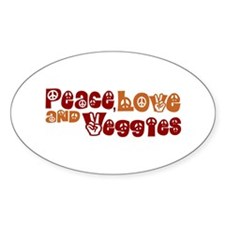 Peace, Love and Veggies Oval Decal