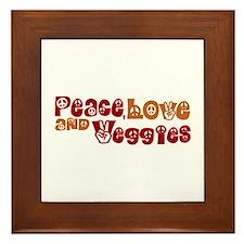 Peace, Love and Veggies Framed Tile