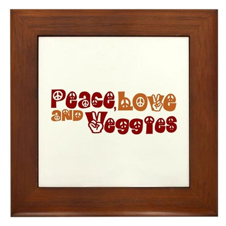 Peace, Love and Veggies Framed Tile