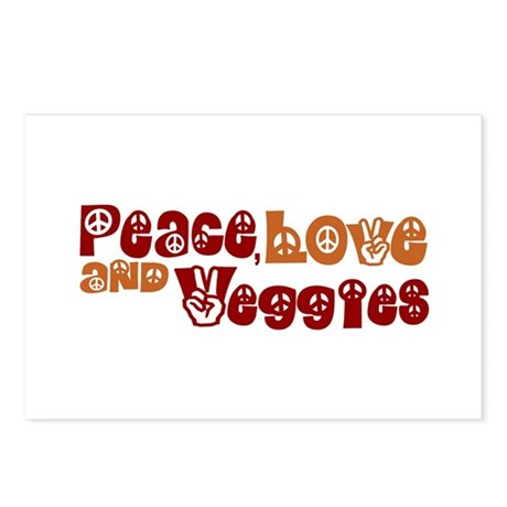 Peace, Love and Veggies Postcards (Package of 8)