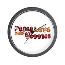 Peace, Love and Veggies Wall Clock