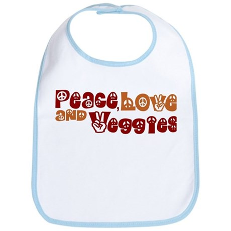 Peace, Love and Veggies Bib