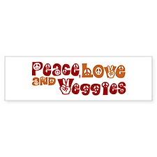 Peace, Love and Veggies Bumper Car Sticker