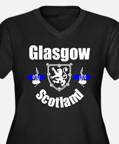 Glasgow Scotland Women's Plus Size V-Neck Dark T-S