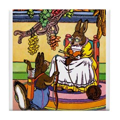 Knitting Bunny Rabbit Tile Coaster