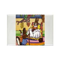 Knitting Bunny Rabbit Rectangle Magnet (10 pack)