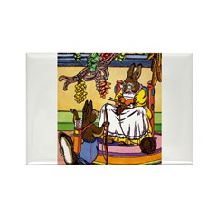 Knitting Bunny Rabbit Rectangle Magnet (100 pack)