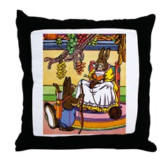 Easter Bunny Knitting Throw Pillow