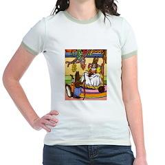 Easter Bunny Knitting Jr. Ringer T-Shirt