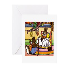 Easter Bunny Knitting Greeting Cards (Pk of 10)