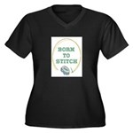 Born To Cross-Stitch Women's Plus Size V-Neck Dark