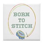 Born To Cross-Stitch Tile Coaster
