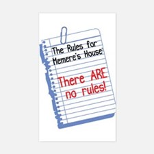 No Rules at Memere's House Rectangle Decal