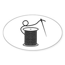 Needle and Thread - Sewing Cr Oval Decal