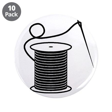 """Needle and Thread - Sewing Cr 3.5"""" Button (10 pack"""