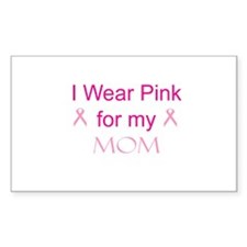 Pink Ribbon - mom Rectangle Decal