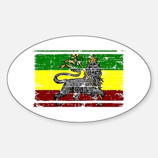 Grunge Rastafarian Flag Oval Decal