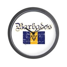 Bajan distressed flag Wall Clock