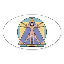 Vitruvian Woman Oval Decal