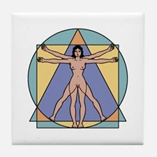 Vitruvian Woman Tile Coaster