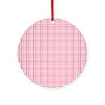 Pink Plaid Tartan Gingham Ornament (Round)