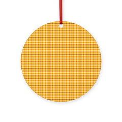 Orange and Yellow Plaid Ornament (Round)