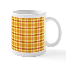 Orange and Yellow Plaid Ceramic Coffee Mug