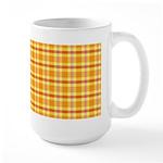 Orange and Yellow Plaid Large Mug (15 oz)