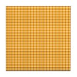 Orange and Yellow Plaid Tile Drink Coaster