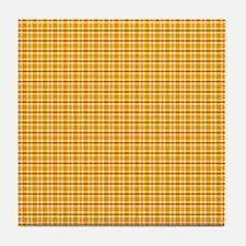 Orange and Yellow Plaid Tile Drink Coaster
