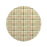 """Brown, Green, and Pink Plaid 3.5"""" Button"""