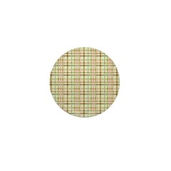 Brown, Green, and Pink Plaid Mini Button