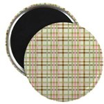 """Brown, Green, and Pink Plaid 2.25"""" Magnet (10 pack"""