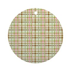 Brown, Green, and Pink Plaid Ornament (Round)