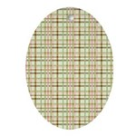 Brown, Green, and Pink Plaid Oval Ornament