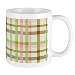 Brown, Green, and Pink Plaid Ceramic Coffee Mug