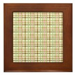 Brown, Green, and Pink Plaid Framed Tile