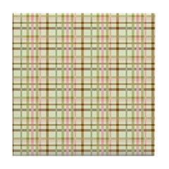 Brown, Green, and Pink Plaid Tile Drink Coaster