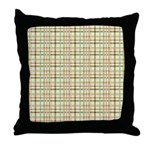 Brown, Green, and Pink Plaid Throw Pillow