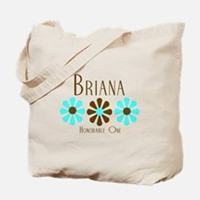 Briana - Blue/Brown Flowers Tote Bag