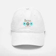 Briana - Blue/Brown Flowers Baseball Baseball Cap