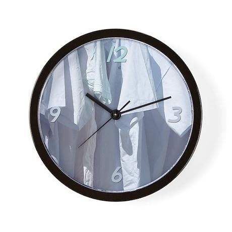 Clean Shirts Wall Clock by pinkinkart