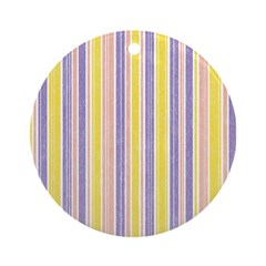 Pink, Purple, Yellow Stripe Ornament (Round)