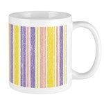 Pink, Purple, Yellow Stripe Ceramic Coffee Mug